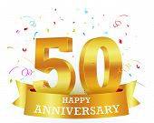 stock photo of 50th  - Vector Illustration of 50th Anniversary Celebration background with confetti - JPG