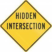 image of intersection  - US warning traffic sign  - JPG