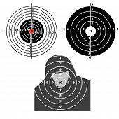 pic of crossed pistols  - Set targets for practical pistol shooting exercise - JPG
