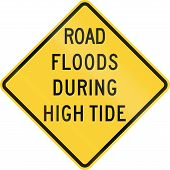 foto of flood  - US warning traffic sign - JPG