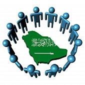 stock photo of saudi arabia  - Circle of abstract people around Saudi Arabia map flag illustration - JPG