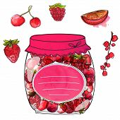 picture of jar jelly  - Hand drawn jar with berry jam and isolated berries cherry - JPG