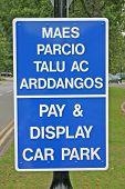 Bilingual English Welsh Car Park Signage