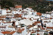 stock photo of pueblo  - General view of town and surrounding countryside whitewashed village  - JPG