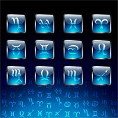picture of cancer horoscope icon  - Signs of zodiac on glossy icons and navy blue background - JPG