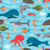 picture of creatures  - Sea creatures seamless background - JPG