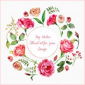 foto of floral bouquet  - Watercolor roses leaves - JPG