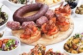 stock photo of antipasto  - Tapas or antipasto food - JPG