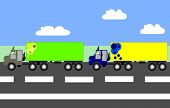 stock photo of truck-cabin  - Big trucks moving on the highway animation cartoon - JPG