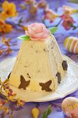 foto of orange peel  - Traditional Easter cottage cheese dessert with orange peel and chocolate - JPG