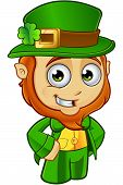 picture of leprechaun  - A cartoon illustration of a cartoon little Leprechaun character - JPG