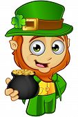 foto of leprechaun  - A cartoon illustration of a cartoon little Leprechaun character - JPG