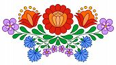 stock photo of hungarian  - Traditional Hungarian folk embroidery pattern isolated on white - JPG