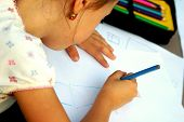 Small girl drawing a picture poster