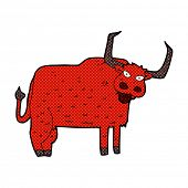 picture of hairy  - retro comic book style cartoon hairy cow - JPG