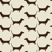 stock photo of dachshund  - Seamless dachshund background with repeating cute brown dachshund silhouettes staying opposite one another isolated on beige background - JPG