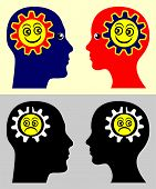 image of mimicry  - Psychological concept sign showing that people take on the moods and attitudes of those around them - JPG