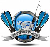 pic of spearfishing  - Metal icon or symbol with porthole equipment for spearfishing and metal ribbon with text spearfishing - JPG