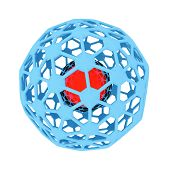 pic of nucleus  - Blue and red Atomic nucleus on white background  - JPG
