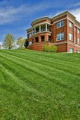 image of municipal  - Neatly mowed green lawn in front of City Hall or a Municipal Building - JPG