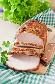 image of veal meat  - Cut pieces of baked meat on the table - JPG
