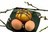 stock photo of willow  - eggs and cake on a plate and willow - JPG