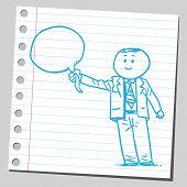 foto of bubble sheet  - Businessman holding speech bubble - JPG