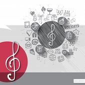 stock photo of clefs  - Hand drawn treble clef icons with icons background - JPG