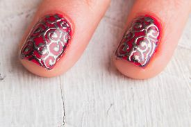 foto of nail paint  - . Beautiful female hands with nails painted nails. Art manicure. Art manicure. Creative manicure. Taking Close-up nails. Art nails. Nails art. Art manicured fingers. - JPG