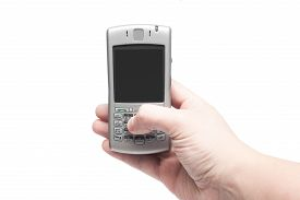 foto of qwerty  - smart phone with qwerty keyboard in hand isolated on white background - JPG