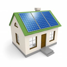 picture of solar battery  - House with electricity solar panels on a roof - JPG