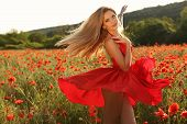 picture of headband  - fashion outdoor photo of beautiful sexy girl with blond hair in elegant dress and flower - JPG