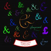 foto of ampersand  - Different styles of ligature of sign Ampersand  - JPG