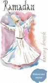 pic of sufi  - Watercolor dancing dervish - JPG