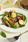 pic of quail egg  - Fish salad with quail eggs - JPG