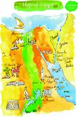 stock photo of nefertiti  - Map of attractions Egypt - JPG