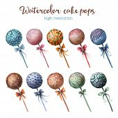 image of cake pop  - Watercolor cake pops set in high resolution - JPG