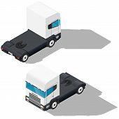 stock photo of truck-cabin  - Trucks detailed isometric icons set vector graphic illustration - JPG