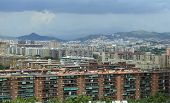 stock photo of suburban city  - Houses and apartments in Suburban sprawl of the City of coastal Barcelona - JPG