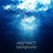 Abstract Triangles Pattern Background. Blue Water Geometric Background. poster