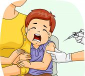 stock photo of crying boy  - Illustration of a Scared Boy Crying Loudly as He is About to Get His Shot - JPG