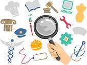 picture of discipline  - Illustration of a Magnifying Glass Hovering Above Icons of Different Academic Disciplines - JPG