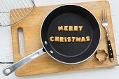 picture of merry christmas text  - Top view of alphabet text collage made of cookies biscuits - JPG