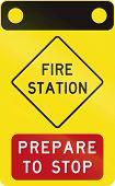 stock photo of fire-station  - An Australian warning traffic sign  - JPG