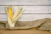 image of maize  - Raw maize cob on a wooden table - JPG