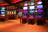 Modern Empty Casino Hall With Game Machines, General View