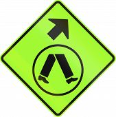 image of veer  - An Australian warning traffic sign  - JPG