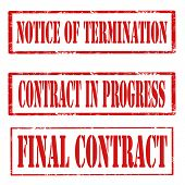 stock photo of contract  - Set of grunge rubber stamps with text Notice Of Termination - JPG