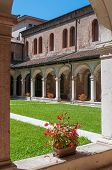 image of vicenza  - The internal cloister of the gothic Saint Lorenzo church in Vicenza - JPG