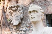 picture of vicenza  - White stone statues and sculptures in the external courtyard of the olimpic theater in Vicenza - JPG